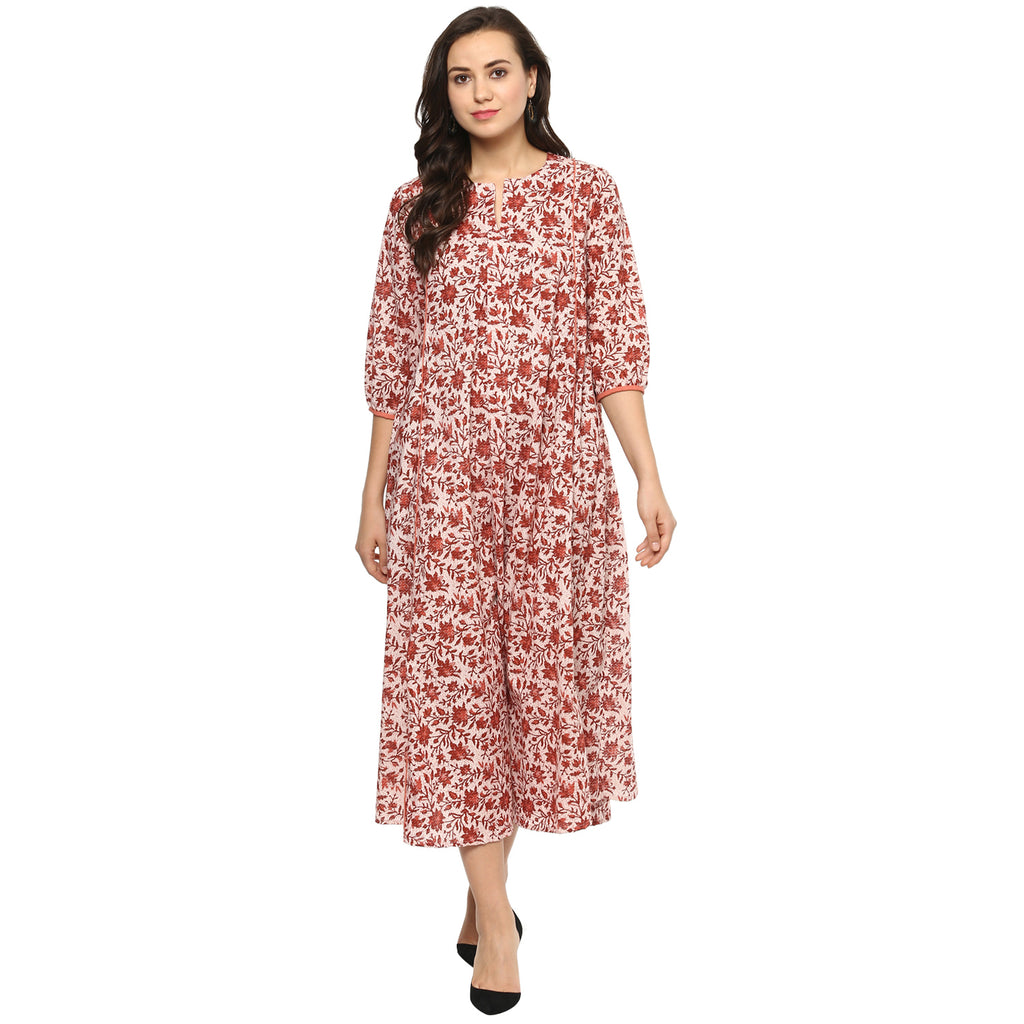 Idalia Maroon Jaal Print Maxi Dress