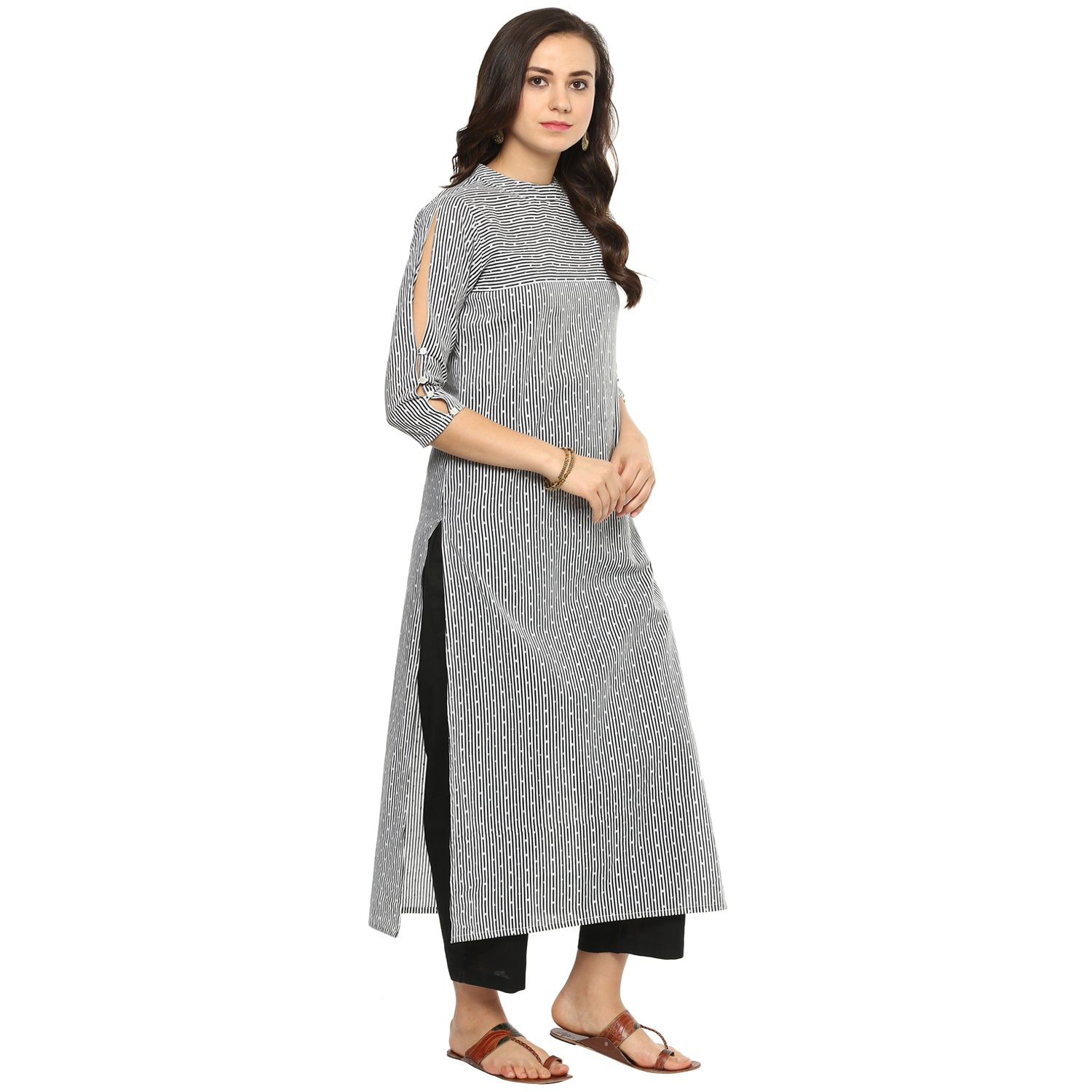 Idalia Women Dotted Striped Black & White Straight Kurta