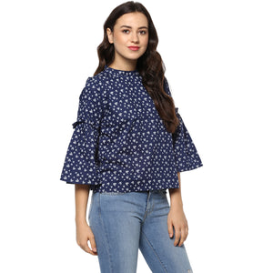 Idalia Women Navy Blue Printed Top