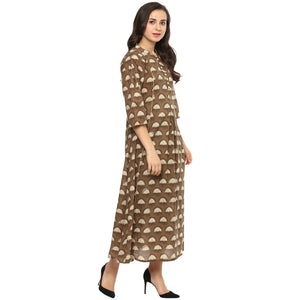 Idalia Women Camel Colour Pleated Flared Kurta