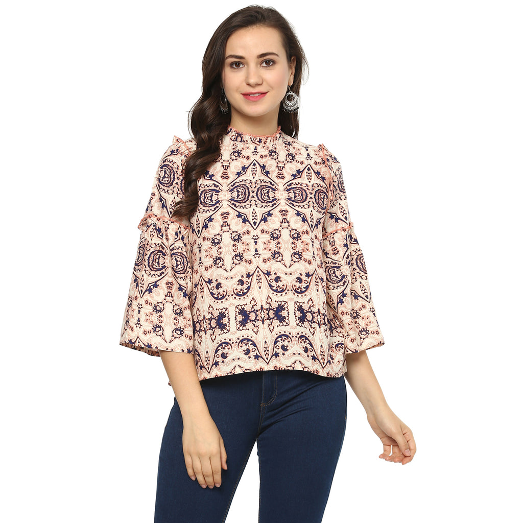 Idalia Women Multi Color Damask Print Top