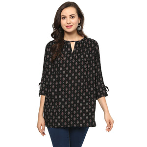 Idalia Women Printed Black Top