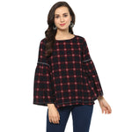 Idalia Women Red & Black Plaid Print Top