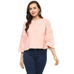 Idalia Women Baby Pink Solid Top