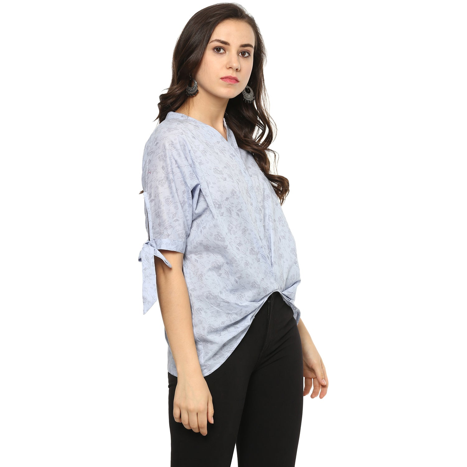 Idalia Women Sky Blue Printed Top
