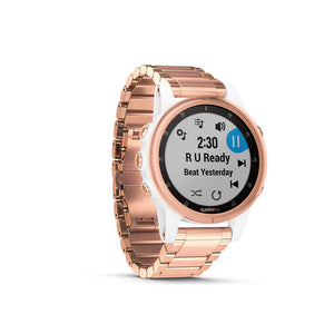GARMIN Fenix 5s Plus Sapphire White with Rose Gold-Tone Metal Band