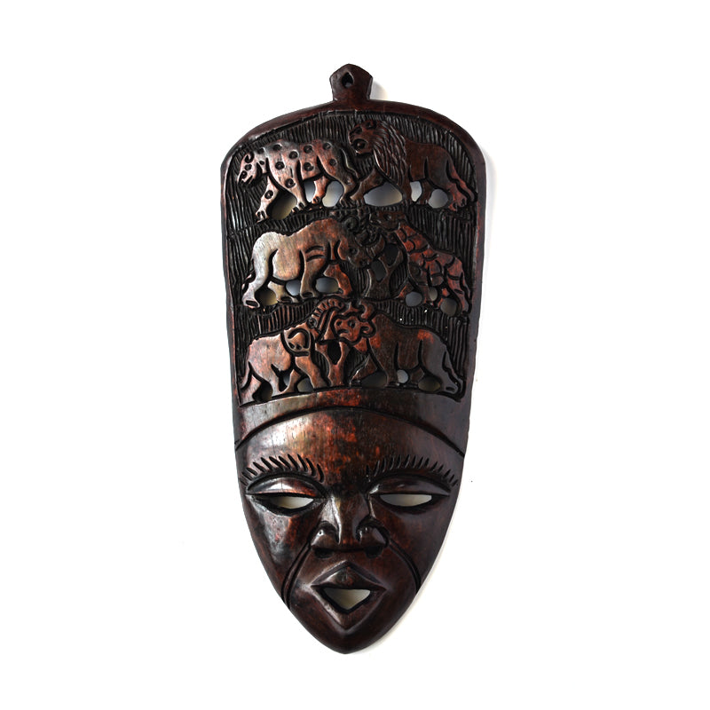 Wooden Lady Mask Black Wall Mount-Wall Decor -22 Inches Height