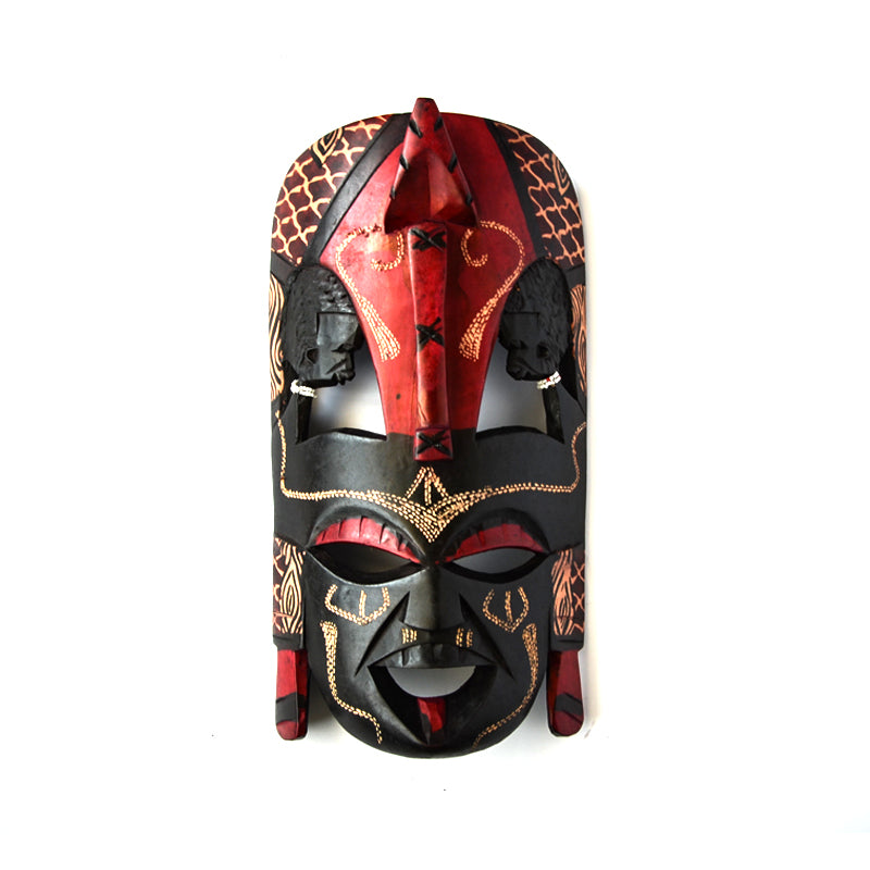 Wooden Red Mask Black Wall Mount-Wall Decor -15 Inches Height