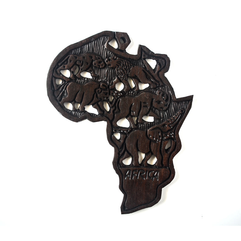 Wooden Africa Continent Wall Mount-Wall Decor -13 Inches Height