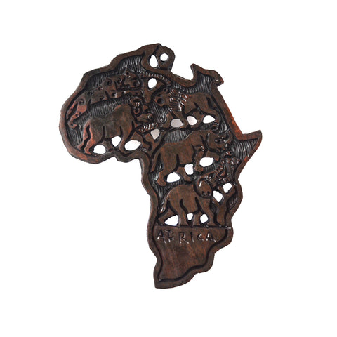 Wooden Africa Continent Wall Mount-Wall Decor -12 Inches Height