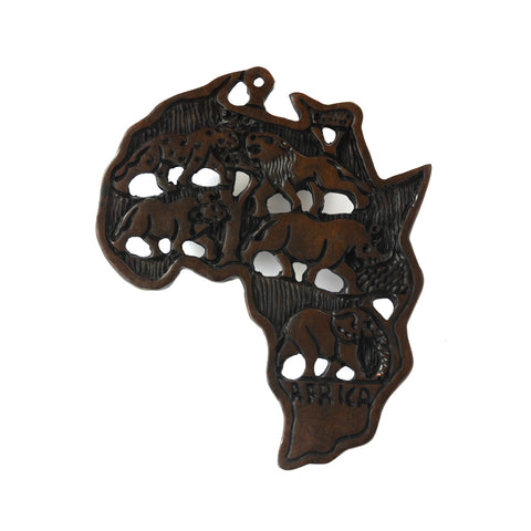 Wooden Africa Continent Wall Mount-Wall Decor -12.5 Inches Height
