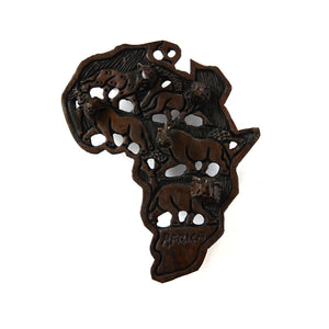 Wooden Africa Continent- Key Holder Wall Mount-Wall Decor -13 Inches Height