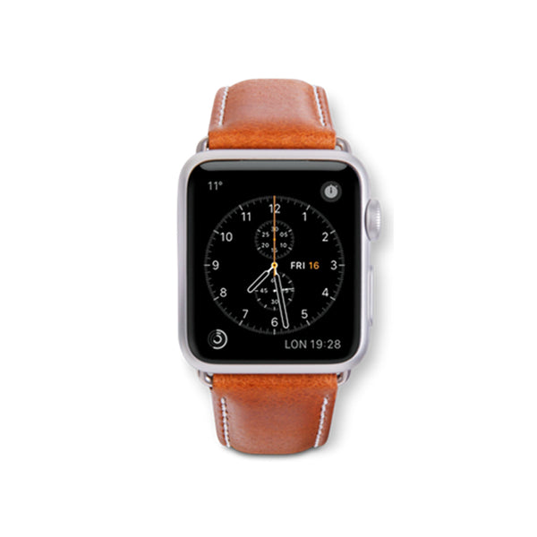 dbramante1928 Copenhagen Strap 42/44mm Tan/Silver for Apple Watch - Full Grain Leather