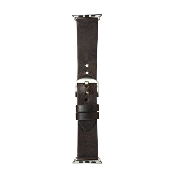 dbramante1928 Bornholm Watch Strap 44mm Dark Brown/Silver - Full Grain Leather