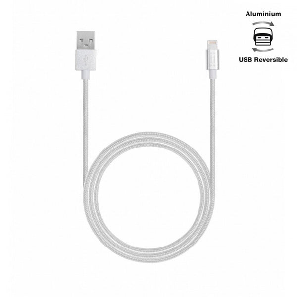 Aiino,Apple,Woven,Lightning Cable,Metal,1.2 m,Silver