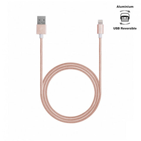 Aiino,Apple,Woven,Lightning Cable,Metal,1.2 m,Rose Gold,Cables and Connectors