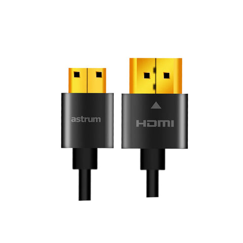 Astrum,HDMI V2.0,Super Slim Male,Mini Male Cable,20gbps transfer speed,4K TV Support,Blister Pack,CB-HDMI01-AC,Copper Conductor,Computers accessories