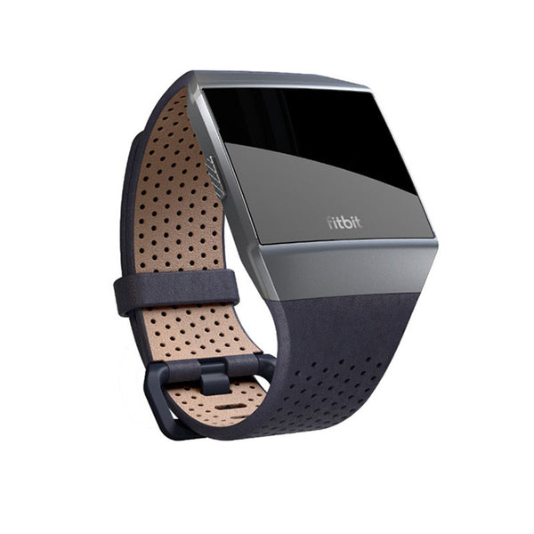 Fitbit Ionic, Accessory Band, Perforated Leather, Midnight Blue,Small