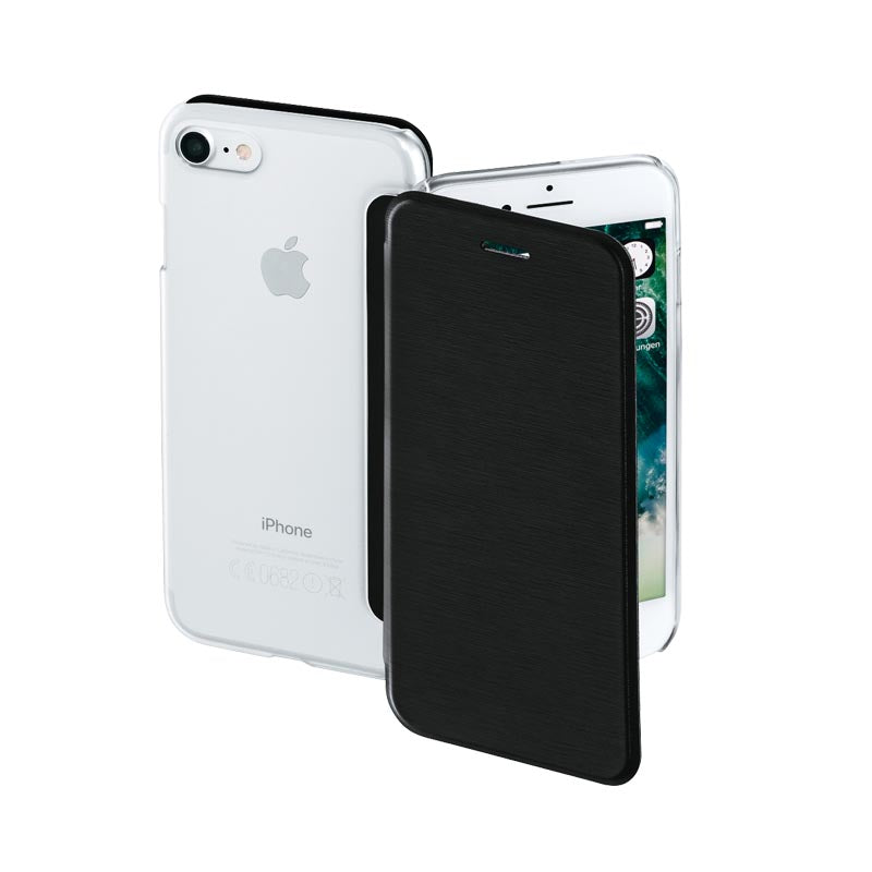 Clear,Booklet Case,iPhone 7 booklet case,black,Booklet case with a transparent back,Slip in Compartment