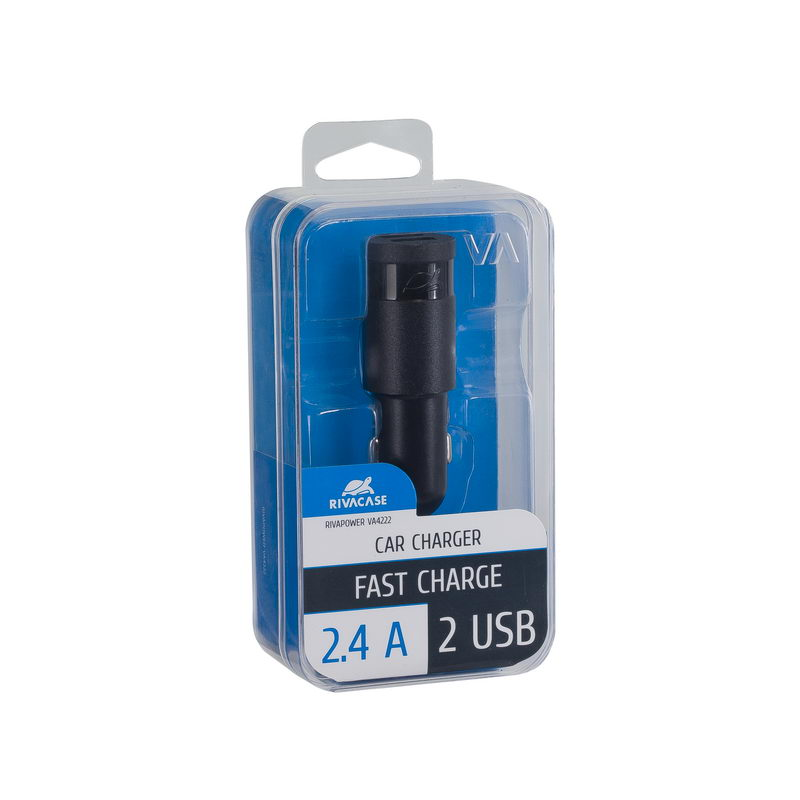 car charger black 2,4A/ 2USB, 12/96