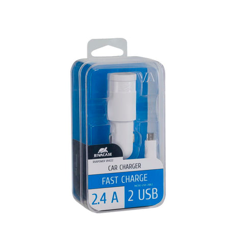 RivaCase RivaPower VA4222 WD1 Car Charger White 2,4A/2USB With Micro USB Cable
