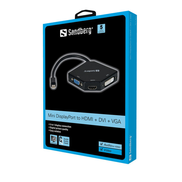 Sandberg Adapter MiniDP to HDMI+DVI+VGA