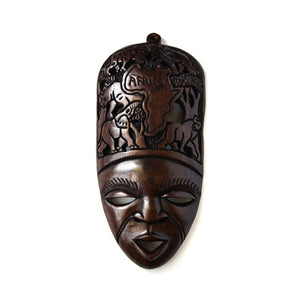 Wooden Lady Mask Black Wall Mount-Wall Decor -20 Inches Height