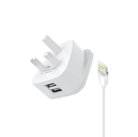 HeatZ Dual Port Fast Home Charger With Lightning Cable (2.4A)