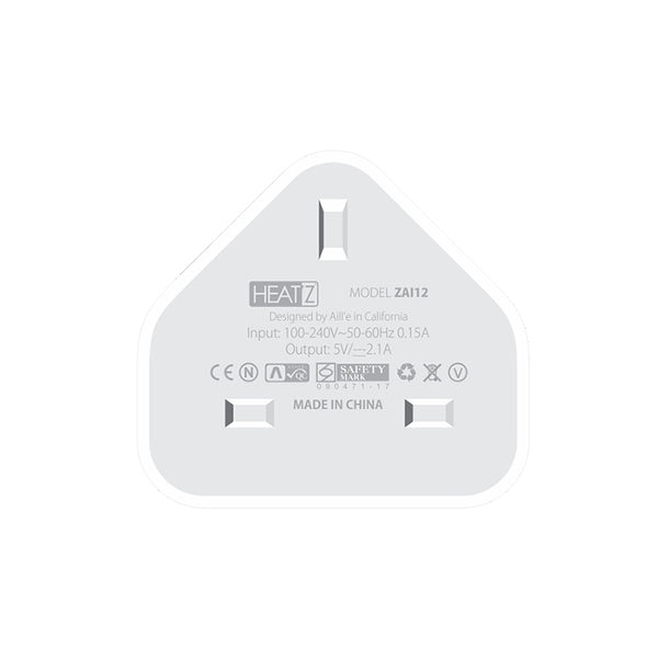 HeatZ Single Port Home Charger With Lightning Cable (2.1A)