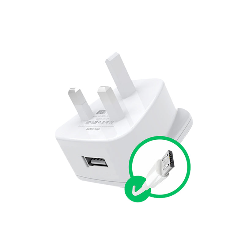 HeatZ Single Port Home Charger With Micro USB Cable (2.1A)