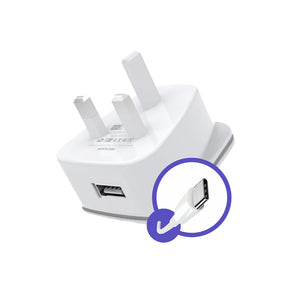 HeatZ Single Port Home Charger With TYPE C USB Cable (2.1A)