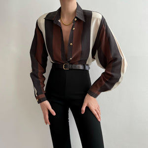 Vintage Color Block Blouse