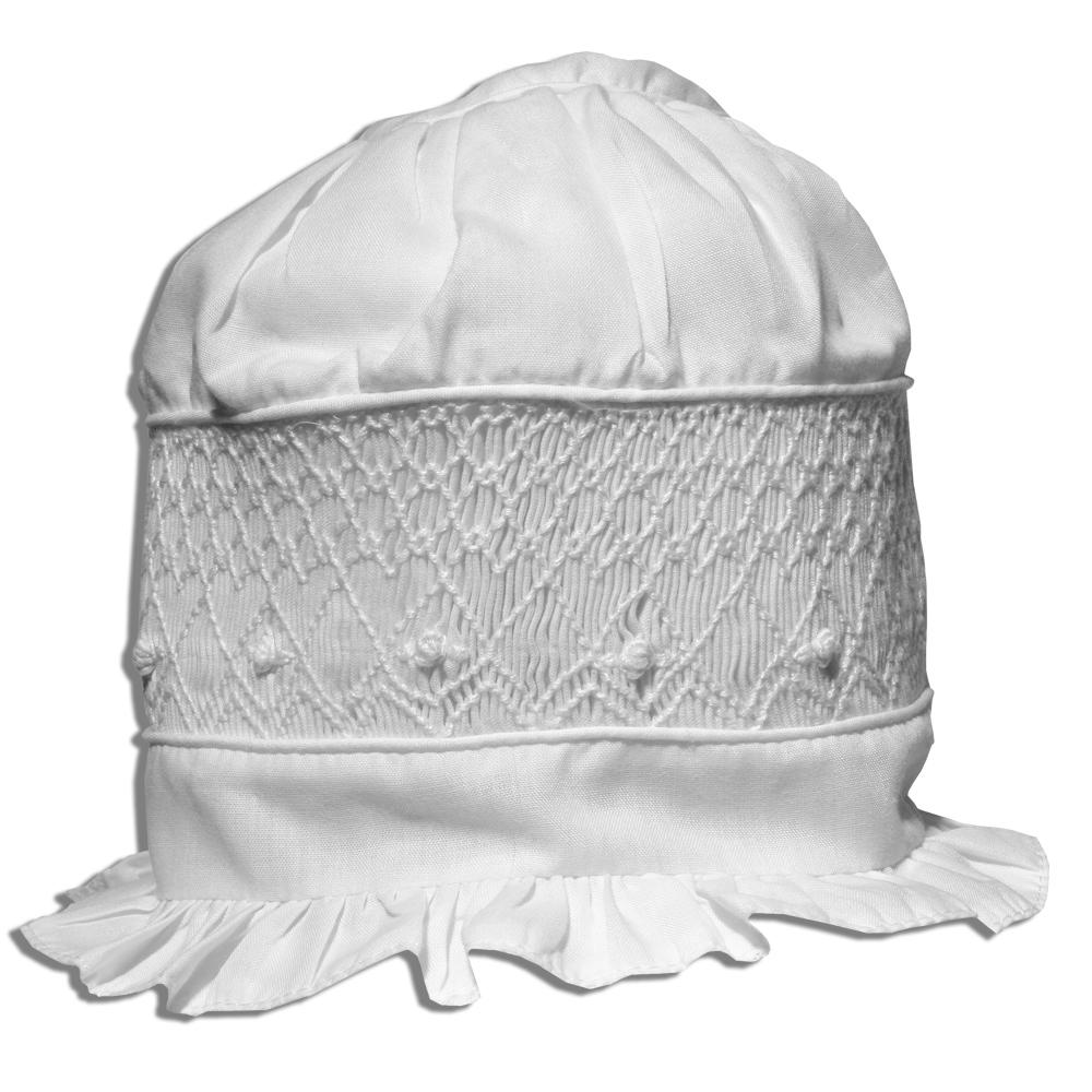 White on White Geometric Smocked Bonnet 1229 BB