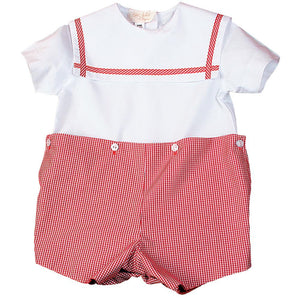 Red Gingham Short Set with White Sailor Collar AYR 1514