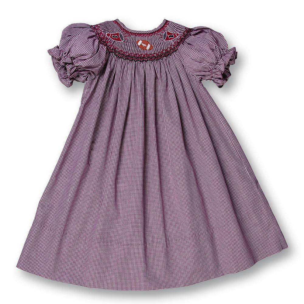Football Maroon & White Gingham Smocked Bishop 12F 2067 A