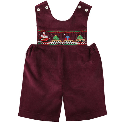 Burgundy Corduroy Santa Christmas Train Smocked Romper 07H 2157 R/BU