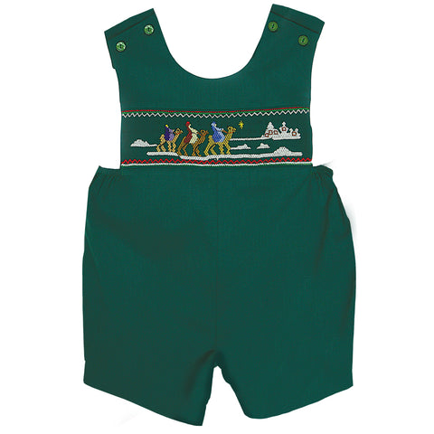 3 Kings Green Smocked Romper 07H 2488 RGR