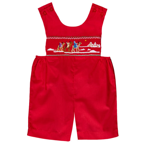 3 Kings Red Smocked Romper 07H 2488 RRD