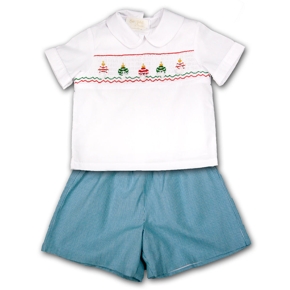 Christmas Ornament White Aqua Gingham Smocked Short Set 07H 2646 SS
