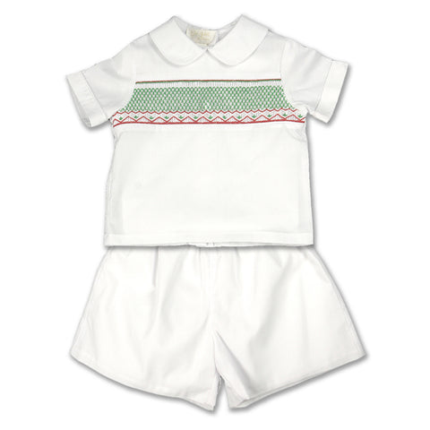 Christmas White with Red/Green Smocking Short Set 07H 2675 SS