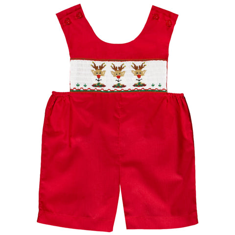Reindeer Faces Red Smocked Romper 07H 2677 R