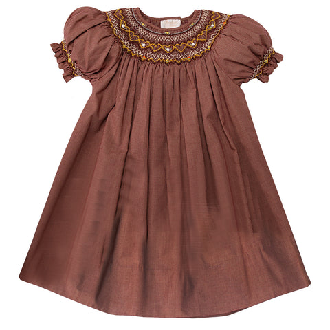 Dk. Brown Gingham English Smocked Bishop 10F 2713 A