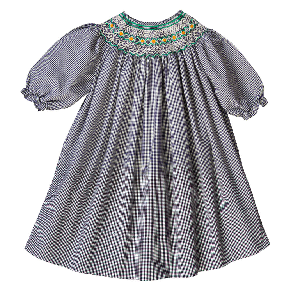 Rosebuds Black Gingham Smocked 3/4 Sleeve Bishop 08F 2783 B