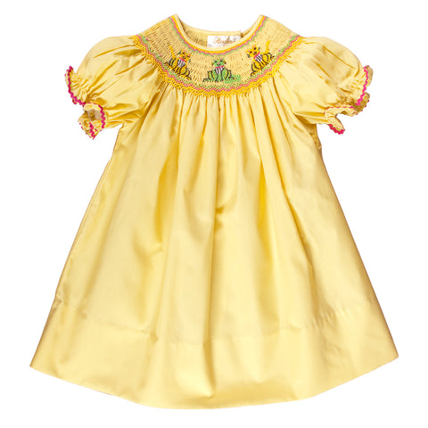 Cunning Cats Yellow Smocked Bishop Dress 09SU 3131 A