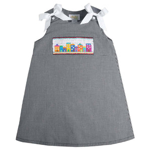 Charleston Rainbow Row Black Gingham Smocked Aline 09F 3135 A