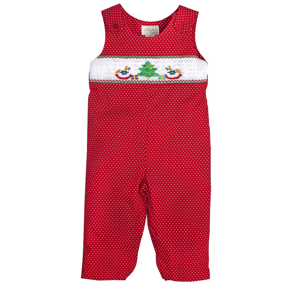 Christmas Tree Rocking Horses Red Polkadot Smocked Girl Longall 09H 3210 K