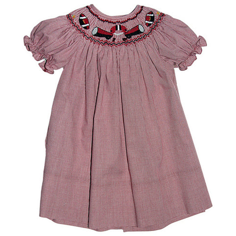 Football Maroon Gingham Smocked Bishop 09F 3300 B