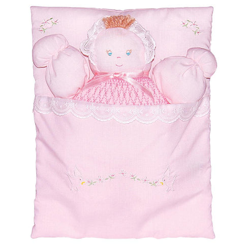 Pink Bunting Doll with Embroidered Flower Design 3471