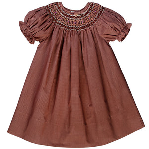 Brown Gingham English Smocked Bishop 10F 3477 A