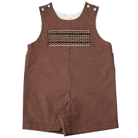 Brown Gingham English Smocked Romper 10F 3477 R